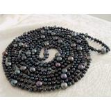 Perlový náhrdelník pravé černé jezerní perly 6-9mm, 250cm NB078