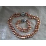 Perlový náhrdelník obláčkové jezerní růžové perly 11mm OP009