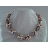 Perlový náhrdelník jezerní barokní růžové a levandulové perl yNB238