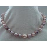 Perlový náhrdelník obláčkové jezerní růžové a levandulové perly 11mm OP018