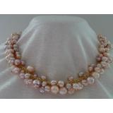 Perlový náhrdelník růžové a levandulové obláčkové jezerní perly 10mm  OP022
