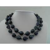 Perlový náhrdelník pravé černé jezerní perly reborn keshi 21mm NB073