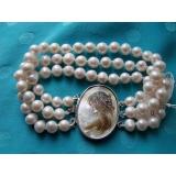 Perlový náramek jezerní bílé perly 8mm, 3 řady BB082
