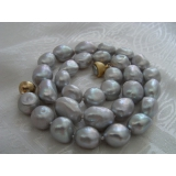 Perlový náhrdelník šedostříbrné barokní jezerní perly 15mm NJ6738
