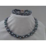 Perlový náhrdelník a náramek pravé černé duhové jezerní perly YY027