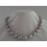 Perlový náhrdelník obláčkové jezerní šedostříbrné perly 13mm OP021