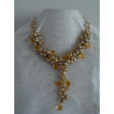 Perlový náhrdelník zlatavé jezerní perly a křišťál YY069