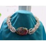 Perlový náhrdelník bílé jezerní perly a abalone YY128