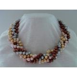 Perlový náhrdelník šedé, růžové, zlaté a kávové jezerní perly  YY070