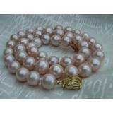 Perlový náhrdelník pravé růžové jezerní perly 10mm N670