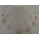 Perlový náhrdelník jezerní růžové perly 9mm YY080