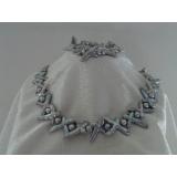 Perlový náhrdelník a náramek šedostříbrné duhové barokní jezerní cross perly NB122