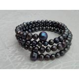 Perlový náramek jezerní černé perly BB014