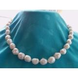Perlový náhrdelník jezerní bílé jahůdkové perly 11mm NJ10308
