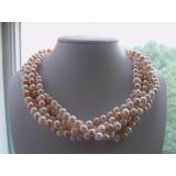 Perlový náhrdelník jezerní bílé a růžové perly 9mm NB218