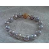 Perlový náramek jezerní šedé obláčkové perly 13mm BB069
