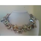 Perlový náhrdelník pravé jezerní šedostříbrné reborn keshi perly NB092