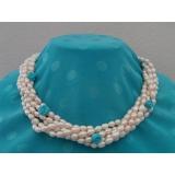 Perlový náhrdelník bílé jezerní perly a tyrkys NB165