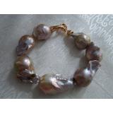 Perlový náramek jezerní levandulové reborn keshi perly 28mm BB034