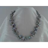 Perlový náhrdelník šedostříbrné jezerní perly reborn keshi  NJ7602