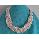Perlový náhrdelník jezerní bílé perly 9mm NB243