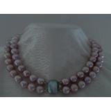 Perlový náhrdelník levandulové jezerní perly 12mm NB200