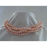 Perlový náhrdelník růžové jezerní perly 8mm NJ7354
