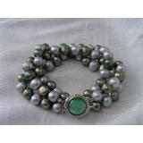 Perlový náramek pravé šedé a zelené perly BB021
