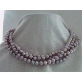 Perlový náhrdelník levandulové jezerní perly 8mm NJ7355