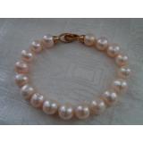 Perlový náramek jezerní růžové perly 11mm BB051
