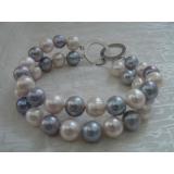 Perlový náramek šedostříbrné a bílé jezerní perly 11mm BB018