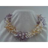 Perlový náhrdelník jezerní bílé perly a křišťál YY029