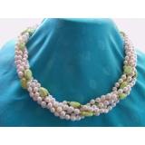 Perlový náhrdelník mořské bílé perly a tyrkys YY124