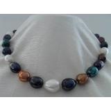 Perlový náhrdelník barevné barokní jezerní perly 17mm NJ8038