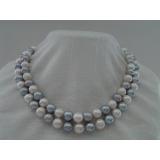 Perlový náhrdelník pravé šedé a bílé jezerní perly 11mm, 2řady NB077