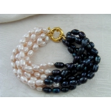 Perlový náramek černé jezerní perly BB035