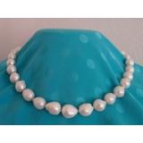 Perlový náhrdelník jezerní bílé barokní perly 14mm NB140