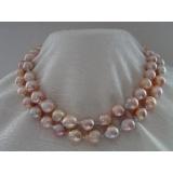 Perlový náhrdelník obláčkové jezerní růžové perly 13mm OP008