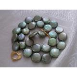 Perlový náhrdelník zelené jezerní coin perly 12mm NJ8691