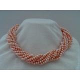 Perlový náhrdelník růžové jezerní perly 5mm NB169