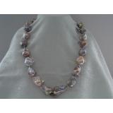 Perlový náhrdelník barokní jezerní levandulové duhové perly 30mm NJ9109