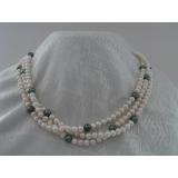 Perlový náhrdelník jezerní bílé a zelené perly 8mm DB014
