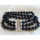Perlový náramek jezerní černé perly BB047