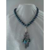Perlový náhrdelník jezerní černé perly 11mm YY092
