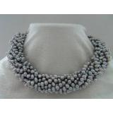 Perlový náhrdelník šedostříbrné duhové barokní jezerní perly NB179
