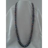 Perlový náhrdelník černé jezerní perly 12mm, 80cm NB006