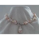 Perlový náhrdelník barokní jezerní růžové perly 22mm NJ9661