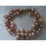 Perlový náramek jezerní obláčkové růžové a levandulové perly BB075