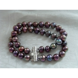 Perlový náramek jezerní černé perly BB071
