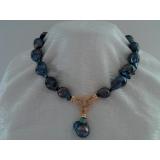 Perlový náhrdelník barokní jezerní černé duhové perly 20mm NB235
